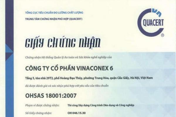 Giấy chứng nhận OHSAS 18001:2007