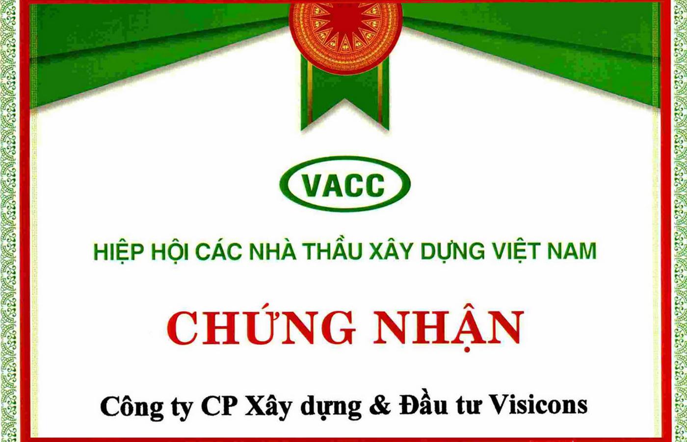 Chứng nhận Hiệp hội các nhà thầu xây dựng Việt Nam