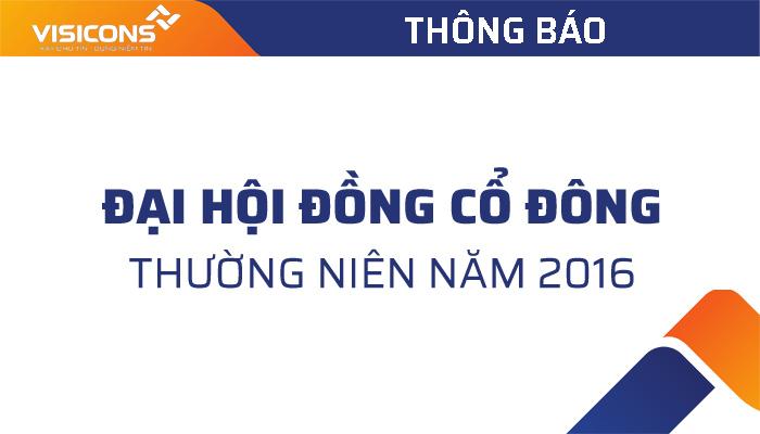 Thông báo mời dự họp đại hội cổ đông thường niên năm 2016